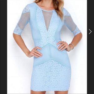 Lulus Light Blue Lace Bodycon Dress